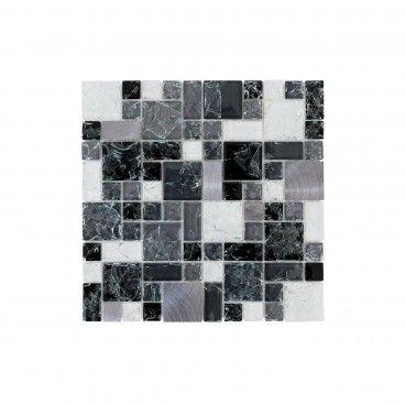 Pastilha Vidro/Aluminio Preto/Branco/Cinza 30x30