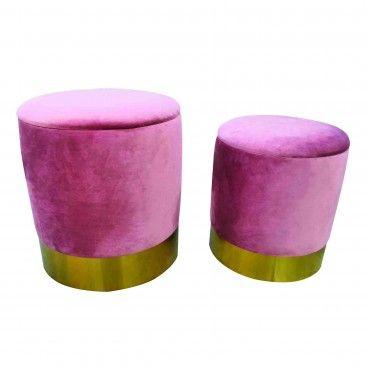 Set 2 Poufs Velvet