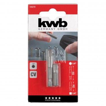"""Kwb Kit 2 Adaptadores Chaves Caixa HEX 1/4"""" 30/50mm"""