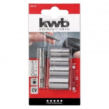"""Kwb Kit 5 Chaves Caixa + Adapatador 1/4"""" 50mm"""