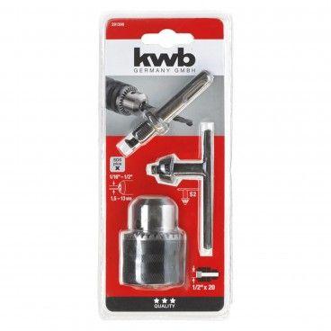 """Kwb Portabrocas com Chave 1,5-13mm 1/2""""+ Adaptador SDS-Plus"""