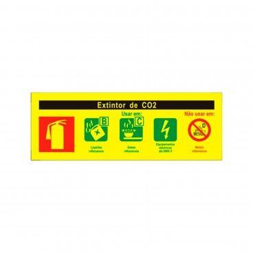 Sinal de Indicação Extintor de CO2 em PVC Fotoluminescente