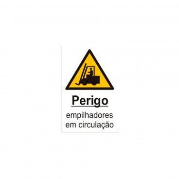 Sinal de Indicação Perigo Empilhadores em Circulação em PVC Opaco