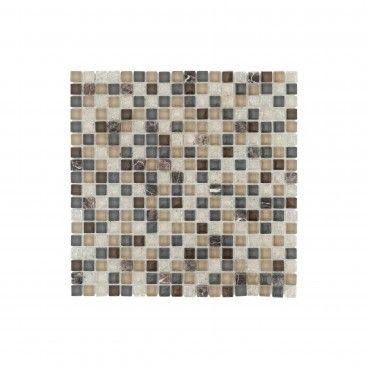 Pastilha Pedra Natural/Vidro Castanho 30x30