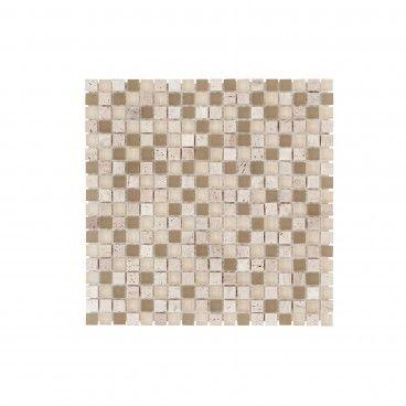Pastilha Pedra Natural/Vidro Castanho Claro 30x30