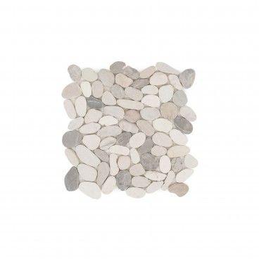 Mosaico Mármore Oval Branco/Cinza 30x30