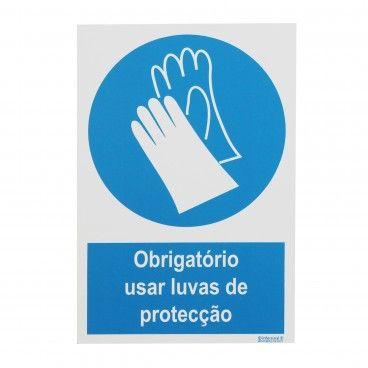 Sinal de Obrigatório Luvas Proteção PVC Opaco