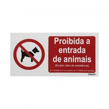 Sinal de Proibido Entrada Animais Exceto Cães Guias em Vinil Autocolante