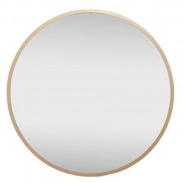 Espelho Redondo em Metal Dourado