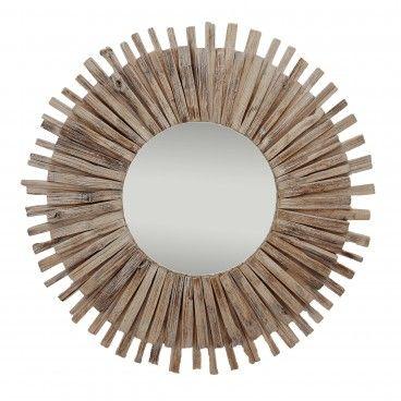 Espelho Redondo Moldura Madeira