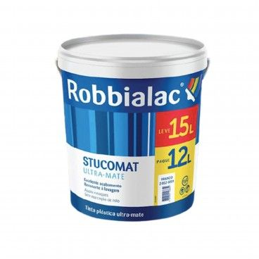 Tinta Plástica Ultra Mate Stucomat Robbialac 12 + 3L
